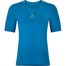 Odlo Ceramicool Seamless Shirt S/S Crew Neck Herre blue jewel-safety yellow